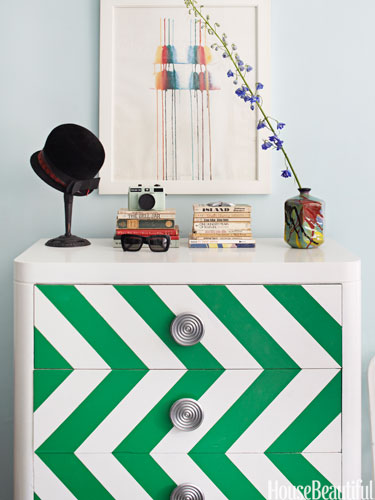 Chevron painted dresser using Emerald: Pantone's Color of the Year 2013