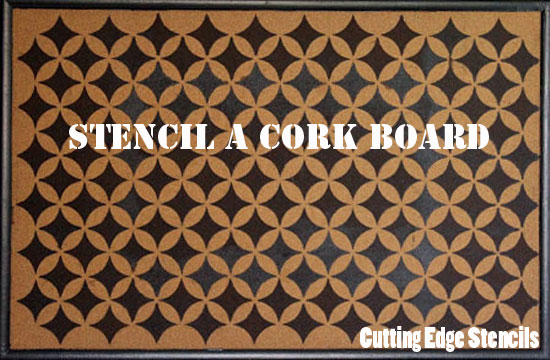 Nagoya Stenciled Cork Board with help from CEStencils!