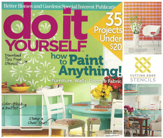Cutting Edge Stencils was featured in DIY Mag's Spring 2013 issue!