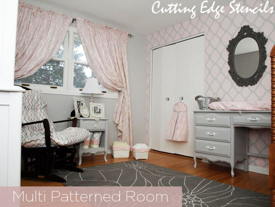 Use stencils with other patterns to complete the look in your room!