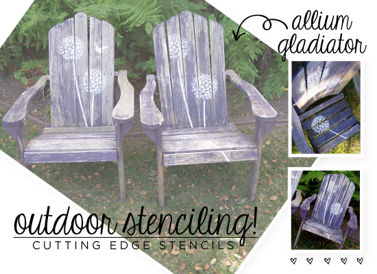 Cute Allium Gladiator Stenciled lawn chairs with help from Cutting Edge Stencils