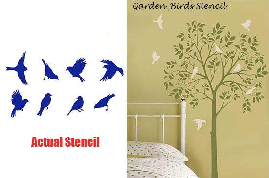 Versatile Garden Birds Stencil from Cutting Edge Stencils