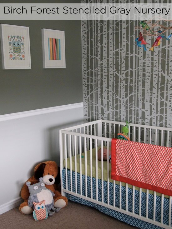 Stencil a nursery with gray paint for a pretty, soft design