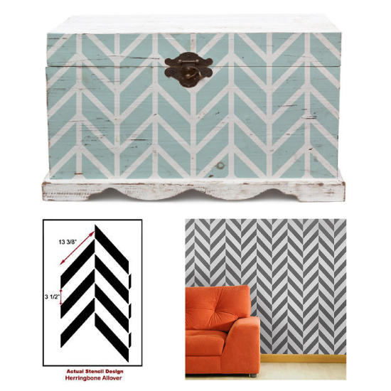 Steal the look: Use CEStencils' Herringbone Stencil to get the look!