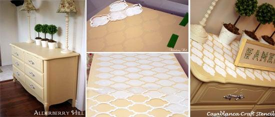 Easy steps to stencil a DIY Moroccan Dresser with CEStencils