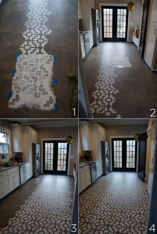 Step-by-Step process of stenciling a Shipibo floor with Cutting Edge Stencils