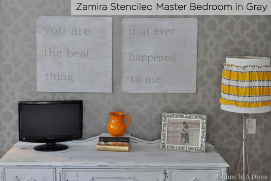 Sophisticated gray bedroom stenciled with CEStencils' Zamira pattern
