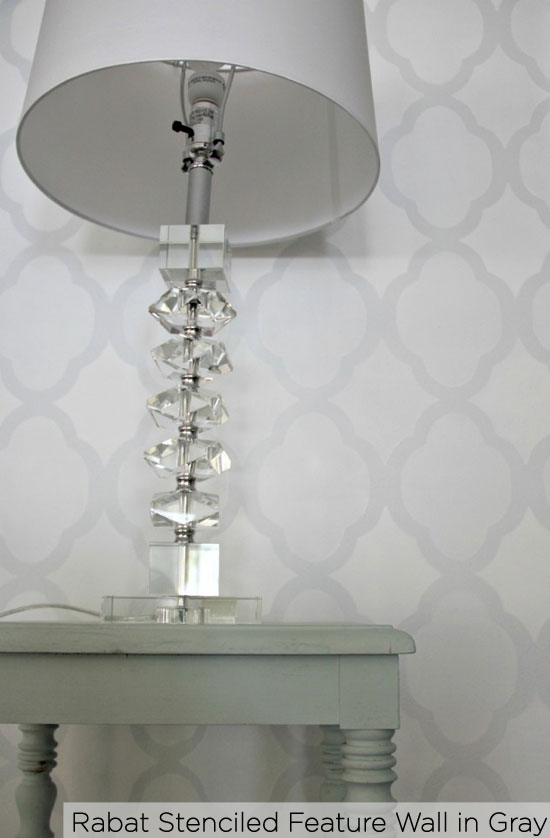 Stencil your feature wall with CEStencils' Rabat Allover in gray!