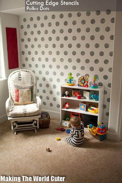 Polka Dot Stencils Painted In A Boy S Nursery