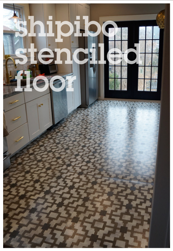 Shipibo Stenciled floor with Cutting Edge Stencils and The Eagle's Nest Blog