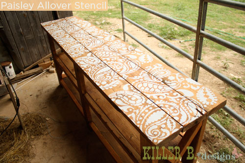 Stenciled outdoor high-top table with Cutting Edge Stencils' Paisley Allover design
