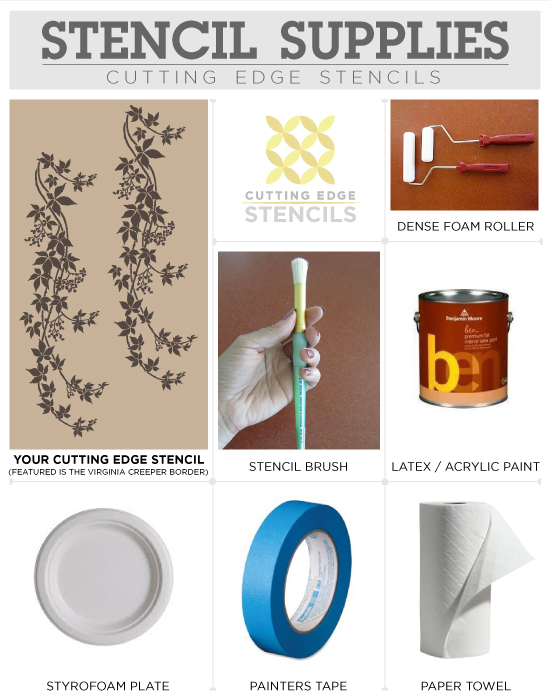 Supplies needed to stencil a border with CuttingEdgeStencils