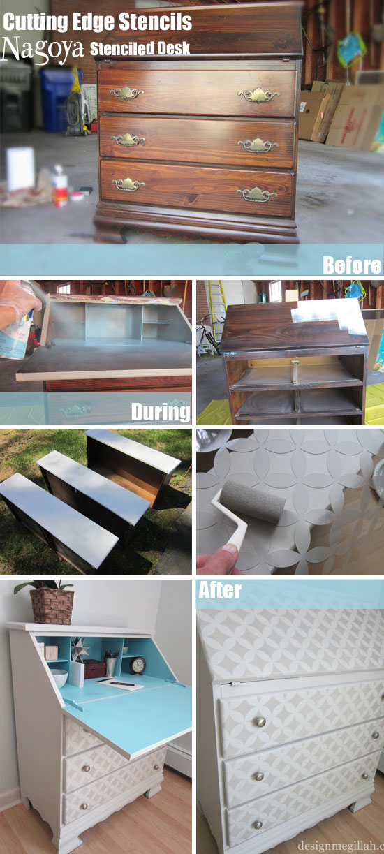 How-to stencil furniture using Nagoya Stencils from CEStencils