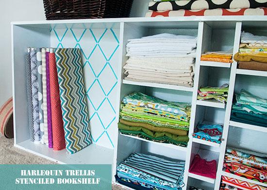 Stenciling a bookshelf is easy with Cutting Edge Stencils' Harlequin Trellis Stencil!