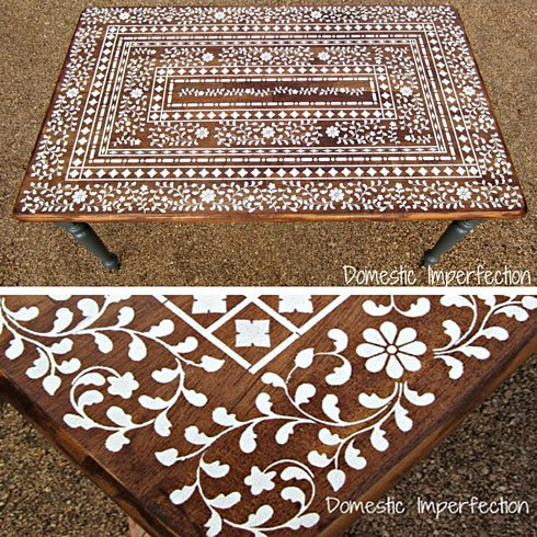 Stenciled Indian Inlay table top from Domestic Imperfections (stencil from Cutting Edge Stencils)