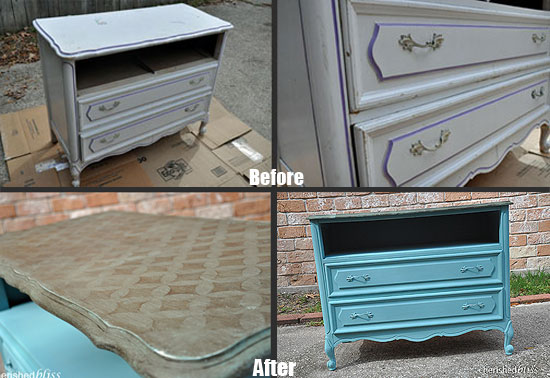 Before/After of a dresser painted with CEStencils Nayoga Stencil