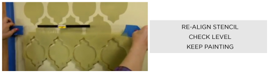 For allover patterns: realign the stencil, check the level, and keep painting!