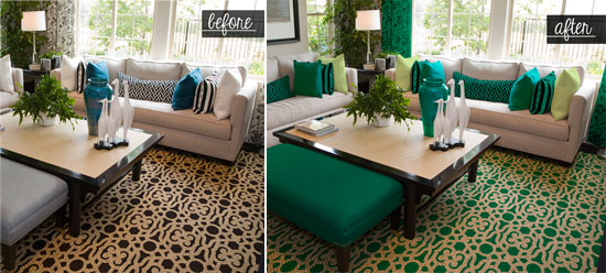 Covington stenciled rug and decor decked out in Emerald: 2013 Pantone Color of the Year