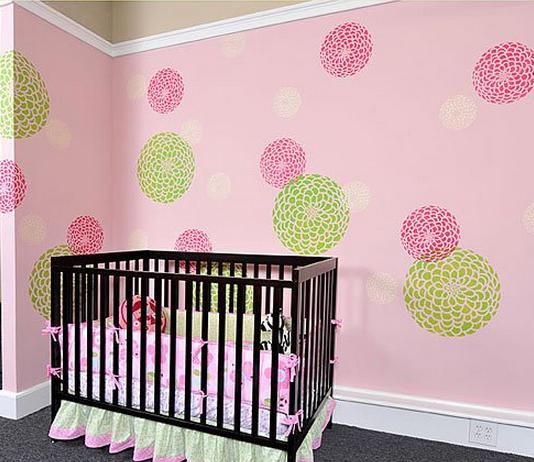 Zinnia Grande stenciled nursery with Cutting Edge Stencils