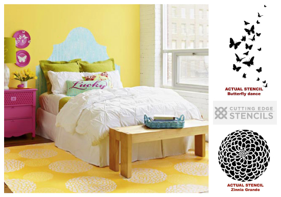Zinnia Rug and Butterfly Decorative plates: use Cutting Edge Stencils to get the look!