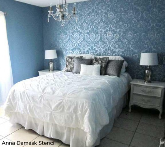 Blue Bedroom Uses The Anna Damask Stencil To Accent The Wall And Add A