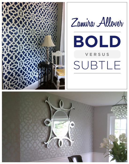 Which do you prefer: Bold or Subtle stenciled walls?!