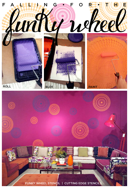 Wow What a room transformation using the Funky Wheel Wall Stencil from Cutting Edge Stencils.