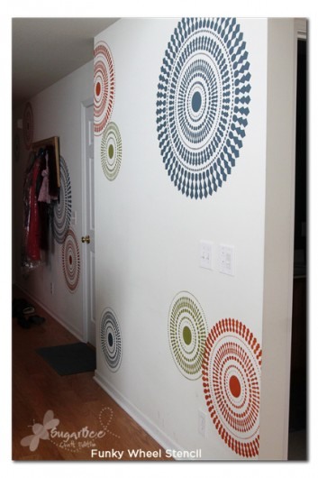 Spruce up a hallway with a fun modern stencil like the Funky Wheel Wall Stencil.