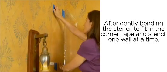 Step-by-step tutorial on stenciling corners with Cutting Edge Stencils