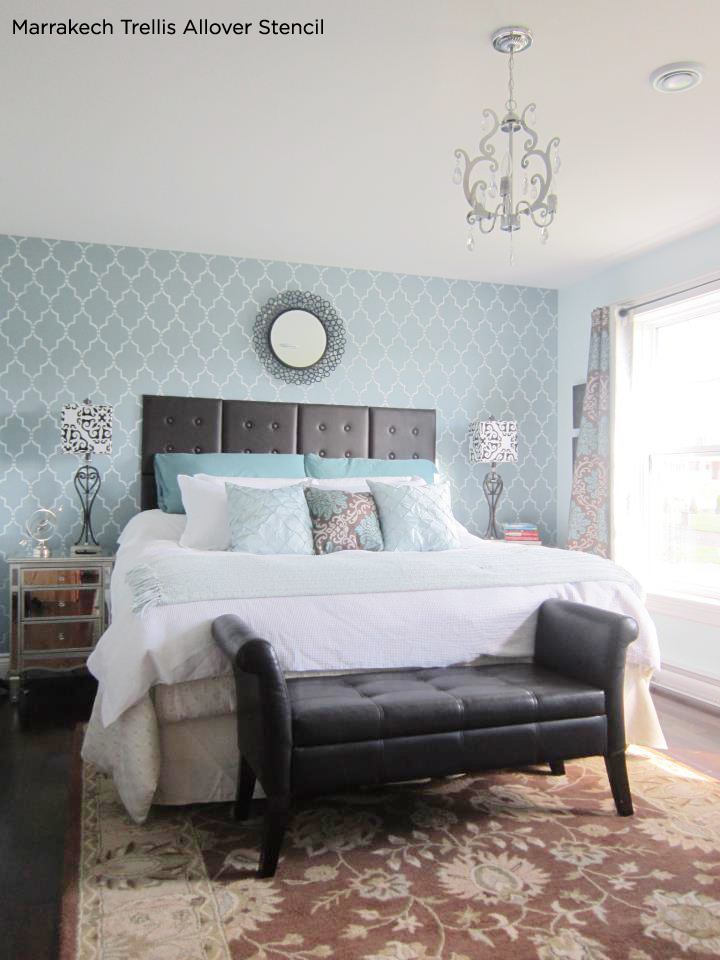 Stunningly Stenciled Bedroom Beauties