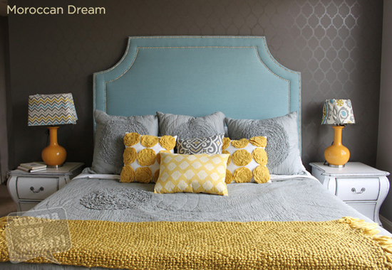 Dreamy looking bedroom uses two different paint sheens (flat and high gloss) to make a simple Moroccan Dream Stencil from Cutting Edge Stencils.
