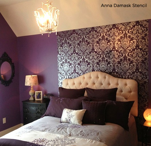 Off White Bedroom With Purple Accent Wall: Stunningly Stenciled Bedroom Beauties