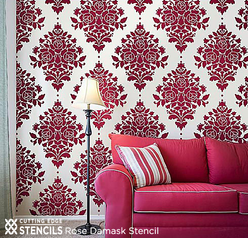 This Rose Damask Stencil From Cutting Edge Stencils Looks Like Elegent Wallpaper Using A Deep Red