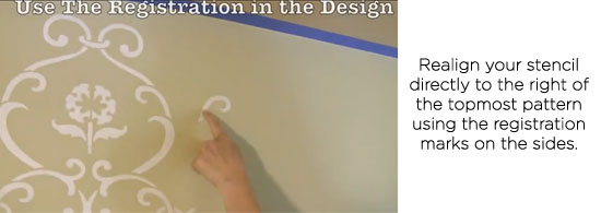 Realign your stencil directly to the right of the topmost pattern using the registration marks on the sides.