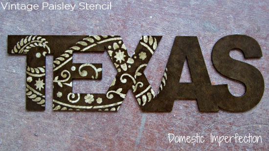 Stencil words or letters with Cutting Edge Stencils' Vintage Paisley Stencil