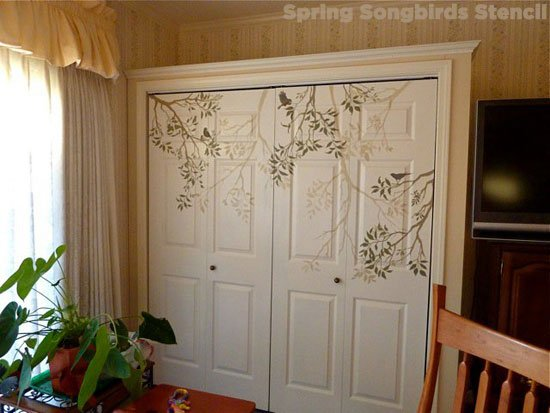 Stencil your doors with Cutting Edge Stencils Spring Songbirds stencil