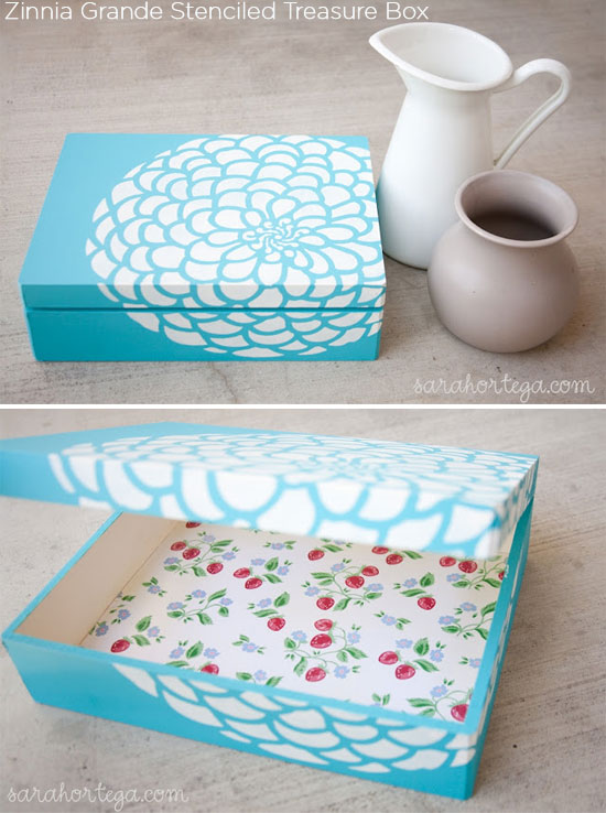Zinnia Grande stenciled treasure box with Cutting Edge Stencils