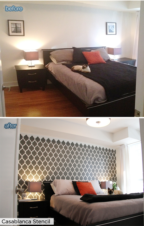 Before and After pictures showing how amazing the Casablanca stencil by Cutting Edge Stencil can make an accent wall look in a bedroom