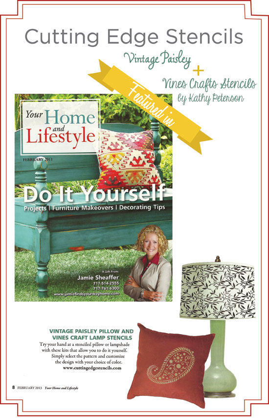 Cutting Edge Stencils featured in Your Home and Lifestyle Magazine