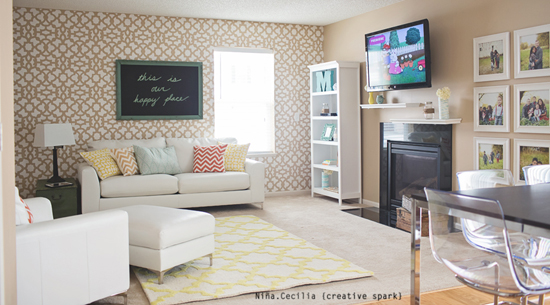 Beautiful family room! Love the subtle Zamira stencil as an accent to this living space.