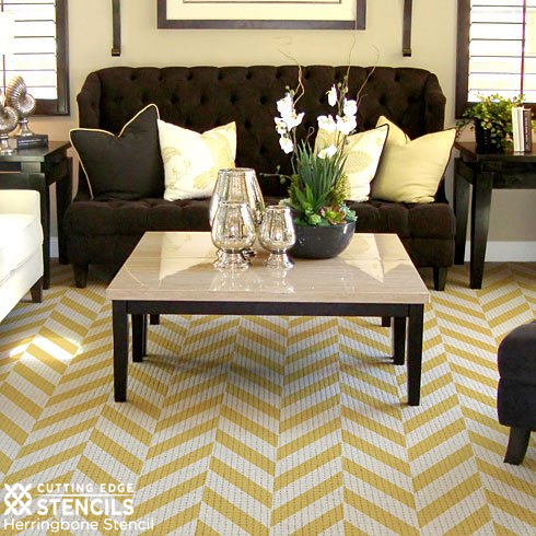 Yellow and White stenciled Herringbone design adds a contemporary edge to this Sisel rug.