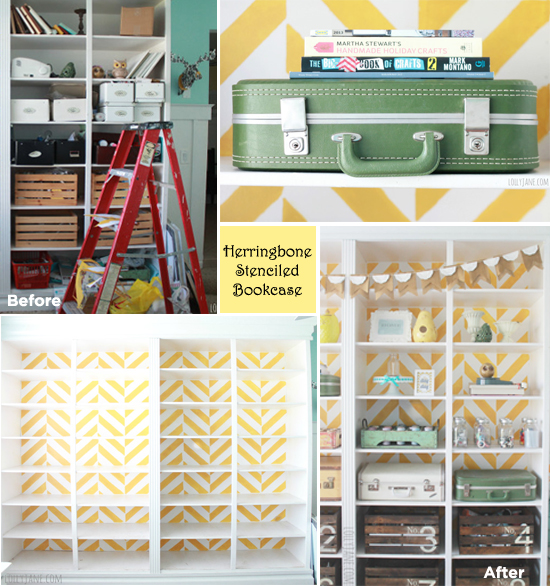 Lolly Jane made over her bookcase in her craft room using the new Herringbone stencil from Cutting Edge Stencils