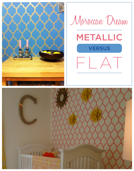 Which do you prefer: Metallic or Flat paint on your stenciled walls?!