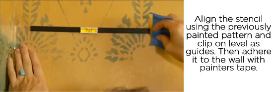 How-to stencil a corner with Cutting Edge Stencils' Diamond Damask design