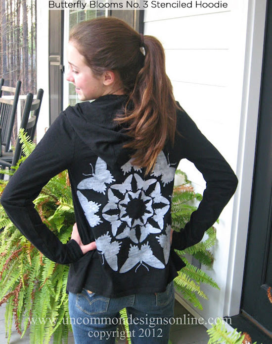 Butterfly Blooms No. 3 Stenciled hoodie with Cutting Edge Stencils