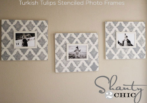 Turkish Tulips Stenciled photo frames with Cutting Edge Stencils