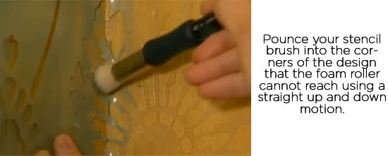 Stenciling corners with Cutting Edge Stencils' Diamond Damask design