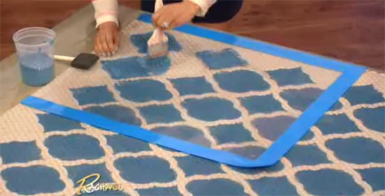 Taniya Nakay shows Rachael Ray how easy it is to stencil a Sisel Rug with the Rabat Craft Stencil from Cutting Edge Stencils.