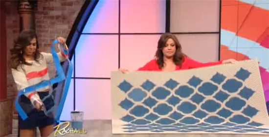Taniya Nayak shows Rachael Ray how easy it is to stencil a Sisel Rug with the Rabat Craft Stencil from Cutting Edge Stencils.