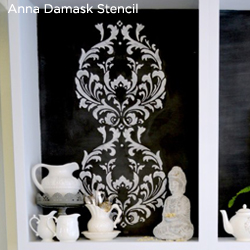 This kitchen cabinet makeover uses the Anna Damask Stencil to add a designer feel! http://www.cuttingedgestencils.com/damask-stencil.html